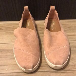 TOMS pink pebbled leather slip on